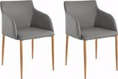 2er Set Stuhl mit Armlehne NONI aus Kunstleder in grau/eiche
