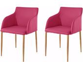 Stühle NONI aus PU Leder in pink, Beine in eichefarben