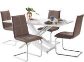 5-tlg. Essgruppe CALEA 160 cm mit 4 Stühlen in braun
