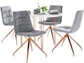 5-tlg. Essgruppe ZELDA 120 cm mit 4 Stühlen in hellgrau