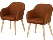 2er-Set Sessel PALDAR aus Kunstleder in cognac