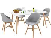 5-tlg. Essgruppe KIM im skandinavischen Design, Tisch 160 cm