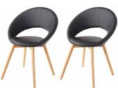 2er Set Stuhl TUXEDO aus Kunstleder in schwarz