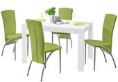 5-tlg. Essgruppe NICONE, 4 Stühle in grün, Tisch 120 cm