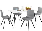 5-tlg. Essgruppe LUCY, 4 Stühle in grau, Tisch 140 cm