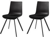 2er-Set Stühle LUCY aus Metall in schwarz, Sitz gepolstert