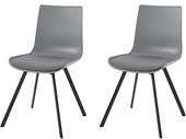 2er-Set Stühle LUCY aus Metall in grau, Beine in schwarz