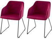 2er-Set Stuhl mit Armlehne BRAVIA, Samtbezug in rot