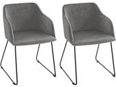 2er-Set Stühle mit Armlehne BRAVIA, Samtbezug in grau