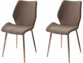 2er-Set Stühle AIDA in cappuccino, verchromte Metallbeine