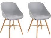 2er-Set Esszimmerstuhl KENNY im Skandinavischen Design, grau