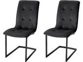 2er-Set Freischwinger Stuhl OTIS mit Samtbezug in schwarz