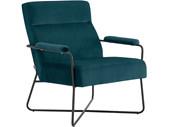 Lounge Stuhl ABEL Samtbezug in petrol, Sitzhöhe 44 cm