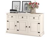 3-trg. Sideboard MIGUEL aus Kiefer massiv in weiß lackiert