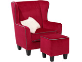 Sessel mit Hocker POMELO Samtbezug in rot/grau