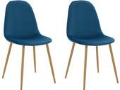 2er-Set Schalenstuhl MIANA Samtstoff Bezug in blau