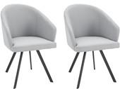 2er-Set Armlehnstuhl BARON aus Webstoff in grau