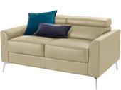 2-Sitzer Sofa JONI aus Leder in creme, Breite 150 cm