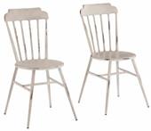 2er-Set Stühle ALANE mit eckiger Rückenlehne in weiß