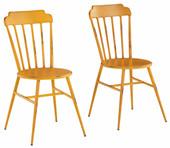 2er-Set Küchenstühle ALANE mit eckiger Rückenlehne, gelb