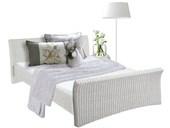 Bett NINA in 140 cm aus Rattan in weiß