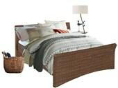 Bett NINA in 180 cm aus Rattan in braun