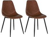 2er-Set Esszimmerstühle MAARAVI aus Kunstleder in cognac