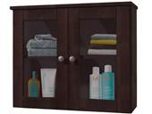Badhängeschrank MINNA mit 2 Glastüren in havana lackiert