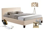Bett 160 cm RAQUEL aus PU Leder in creme