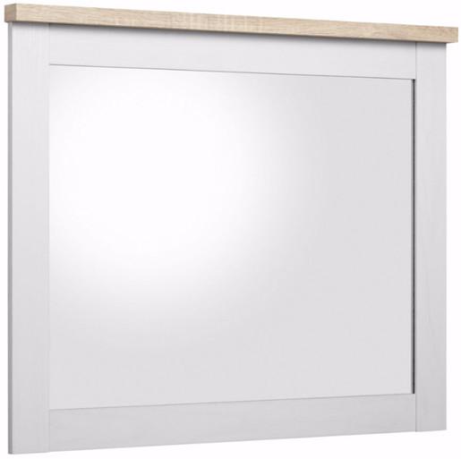 Spiegel HALEY 84x65 cm aus Holzwerkstoff in weiß-eichefarben