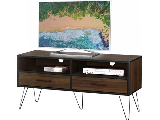 TV-Lowboard  THEON mit 2 Schubladen aus MDF in braun/schwarz