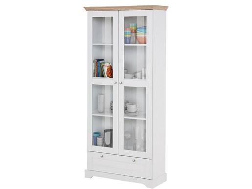 Vitrine AXEL mit 2 Türen aus FSC Holz in weiß