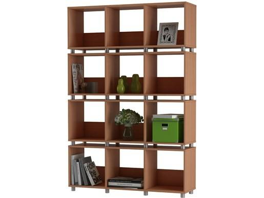 Regal Raumteiler HEIKO 12 Fächer in Buchefarben