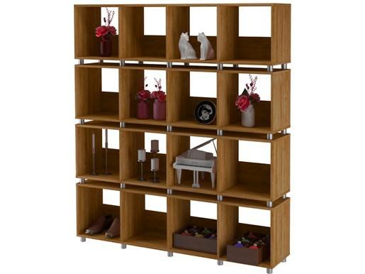 Regal Raumteiler HEIKO 16 Fächer in Buchefarben