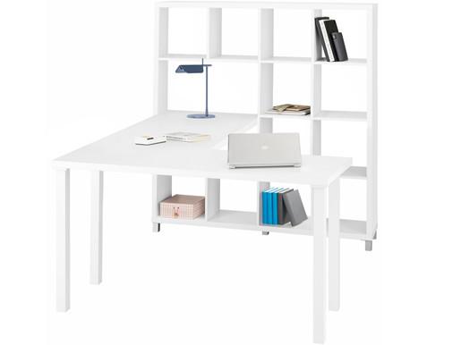 Schreibtisch mit Regal KNOX aus MDF in weiß