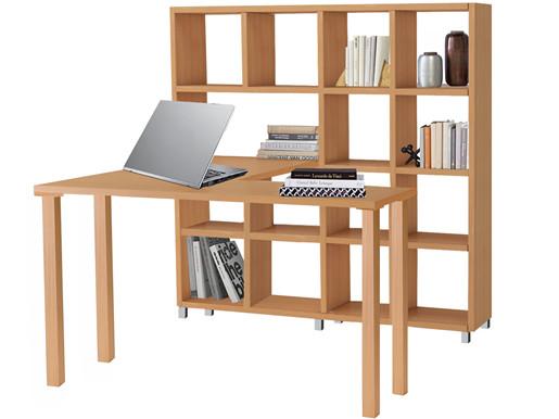 Schreibtisch mit Regal KNOX aus MDF in gebeizt geölt