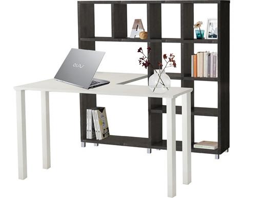 Schreibtisch mit Regal KNOX in beton/weiß aus MDF