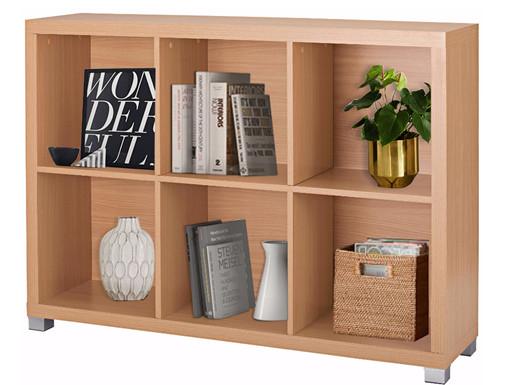 Offenes Bücherregal VEIT 6 Fächer in Buchefarben
