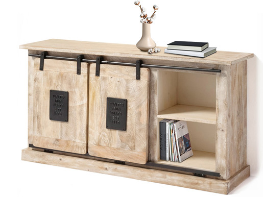 Sideboard TANIA aus Mangoholz mit Schiebetüren, 145 cm