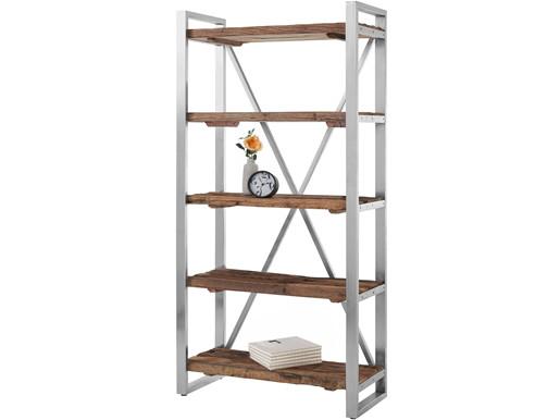 Bücherregal CROWN aus Treibholz mit Metallgestell, 90x179 cm