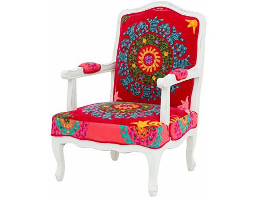 Sessel JAMAICA mit Armlehne und bunten Stickereien, rot