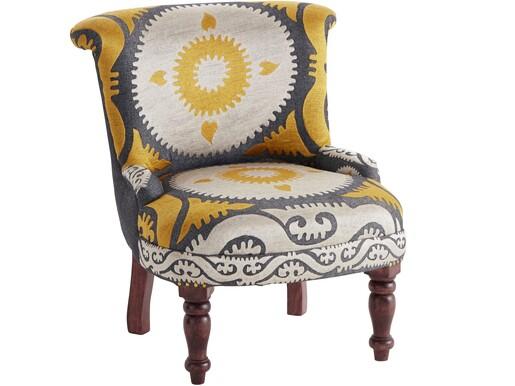 Sessel JAMAICA aus Stoff mit Stickereien, gelb