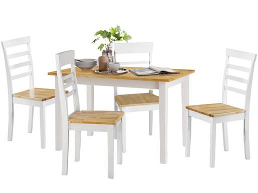 Essgruppe MADEIRA 120 cm aus Massivholz mit 4 Stühle