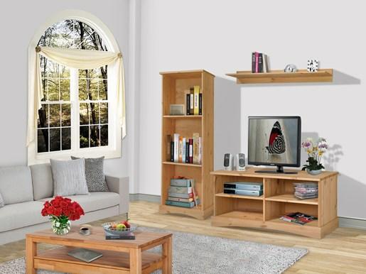 Wohnwand YORK eins Bücherregal aus Kiefer in gebeizt geölt