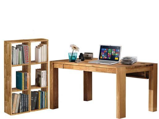 Schreibtisch GIORGIA mit 2 Regalen COMFORT Eiche massiv
