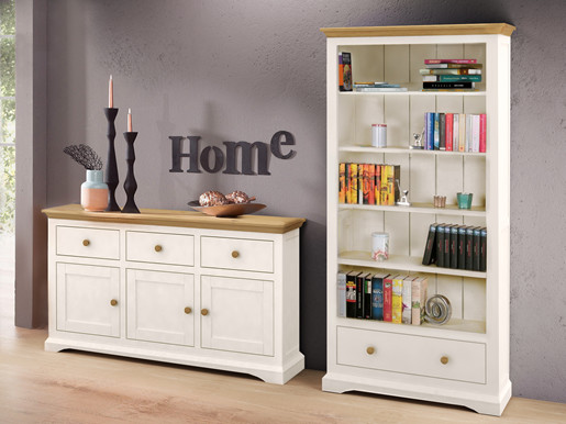 Wohnzimmer-Set HANNE aus MDF in creme und kiefernfarben