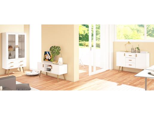 Wohnzimmer Set-PASCAL II aus MDF in weiß & natur