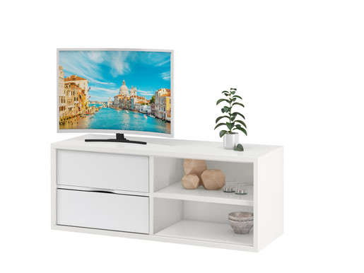 TV Lowboard AIR Set I 2 Schubladen in weiß