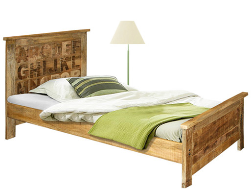 ABC Bett 90x200 cm aus Mangoholz massiv