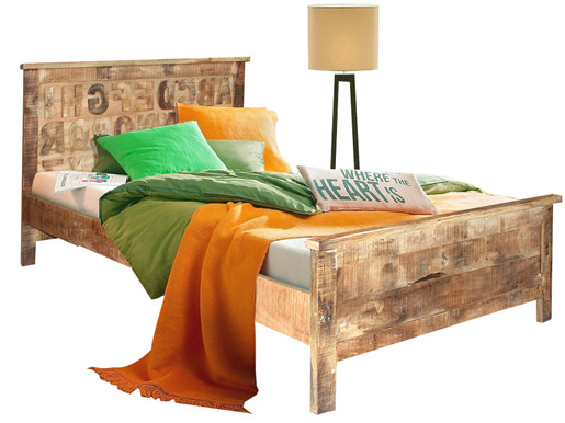 ABC Bett 160x200 cm aus Mangoholz massiv